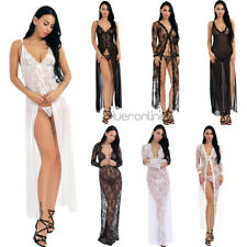 Womens Lace Long Lingerie Sleepwear Nightgown Dress Robe  G-String Set Soft Sexy