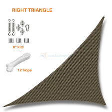 Sun Shade Sail Brown Right Triangle Permeable Canopy Lawn Patio Pool W/6 '' Kit