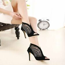 Womens Stiletto Rhinestones High Heels Open Toe Pumps Sandals Prom Shoes Sexy US