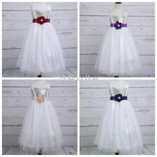 Flower Girls Kid Lace Sequins Glitter Tulle Party Wedding Pageant Princess Dress