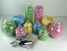 Set of 10 Large Candy Buffet Jars & Victorian Lids With 100 Sweet Bags/ 3 Scoops