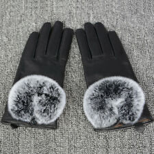 Womens Luxury Real Fur Genuine Lambskin Leather Gloves Outdoor Warm Winter S2051