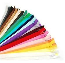 """ZIPS 16""""/40CM CLOSED END NYLON, ASSORTED COLS, IDEAL FOR CUSHIONS & DRESSES X100"""
