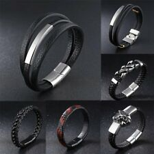 Hot Men Leather Stainless Steel Black Bangle Wristband Magnetic Bracelet Jewelry