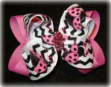 Pink Sparkle Ladybug Boutique Hair Bow Big Double Chevron Hairbow Pageant Party