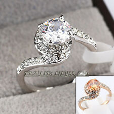 B1-R627 Fashion Solitaire Ring 18KGP CZ Rhinestone Crystal
