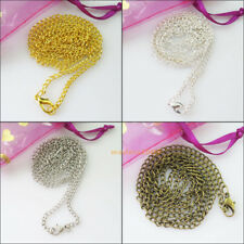 2 Gold Dull Silver Bronze Plated 2.5mm Ring Chains Necklaces With Lobster Clasps