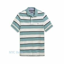 New Tommy Hilfiger Mens Polo Shirt Custom Fit Pique Cotton White Teal Stripe NWT