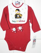 NEW 4-pc Pittsburgh Steelers Baby's 1st Christmas Outfit, Booties Bib RETAIL $20