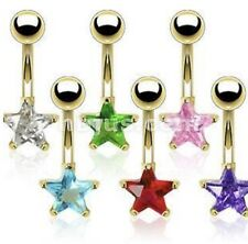 Gold Plated Prong CZ Star Belly Navel Ring 316L Surgical Stainless