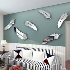 Creative 8pcs Feather Designed 3D Mirror Kid Kitchen Home Decor Wall Stickers