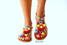 "Pom Pom sandals, leather Sandals, boho Sandals, ""brazil"" Ancient Greek Sandals,"