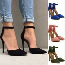 Women's Pointed Toe Stilettos High Heels Ankle Strap Sandals Pumps Formal Shoes