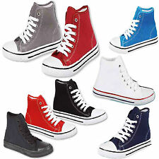 WOMENS CANVAS HIGH TOP SHOES LADIES ANKLE PUMPS GIRLS PLIMSOLLS TRAINERS BOOTS