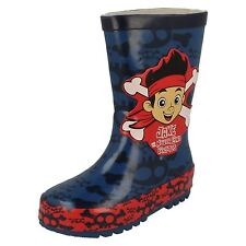 Boys Disney Navy/Red Jake And The Neverland Pirates Wellingtons