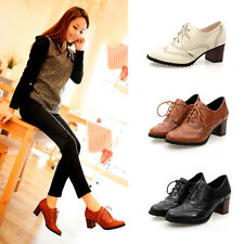 Women Retro Soft Oxfords Mid Heel Hollow Out Casual Office Working Leisure Shoes