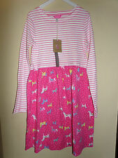 Joules Girls 100% Cotton Hot Pink Striped Pony Print Dress - 11-12 years - BNWT