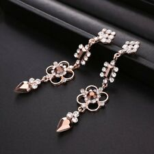 Women Rhinestone Crystal Flower Ear Stud Dangle Drop Earrings Wedding Jewelry