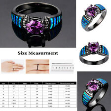 Women Jewelry Black Rhodium Plated Opal CZ Accent Stone Ring Jewelry