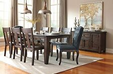 Brown Casual 9pc Pine Wood Ashley Dining Room Set w/UpholsterChair Furniture