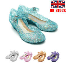 UK Kids Girls Frozen Princess Elsa Cosplay Dress Up Party Sandals Crystal Shoes