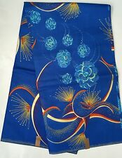 "African Fabric, Ankara - Blue, Orange, Gold ""Dreams Come True"" YARD or WHOLESALE"