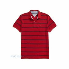 New Tommy Hilfiger Mens Polo Shirt Custom Fit Cotton Red Stripe NWT