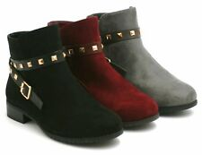WOMENS LADIES FAUX SUEDE STUDDED STRAP CHELSEA BOOT LOW HEEL ANKLE CASUAL SHOES