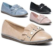 LADIES FLAT BALLERINA PUMPS SLIP ON WOMENS CASUAL COMFORT SHOES 3-8