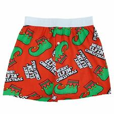 Fun Boxers Mens Red Merry Christmas Elf Holiday Boxer Shorts