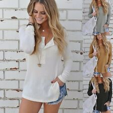 New Womens Loose Knitted Long Sleeve Jumper Sweater Ladies Casual Knitwear Tops