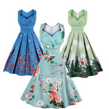 Plus Size Rockabilly Dress Vintage Pleat Swing Pinup Retro Housewife Party Dress