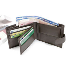 RFID Blocking Mens Trifold Wallet Genuine Leather ID Bill Holder Card Case Purse