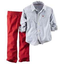 Carters Infant Boys 2 Piece Outfit Red Pants & Blue & White Stripe Shirt Set