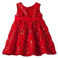 Rare Too! Infant Girls Red Rose Sequin Holiday Party Special Occasion Dress