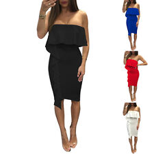 Women's Sexy Close-fitting Slim Off shoulder Falbala Tight Cocktail Party Dress