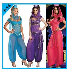 ADULTS DISNEY ARABIAN GENIE PRINCESS JASMINE COSTUME BELLY DANCER - SIZE 6-14