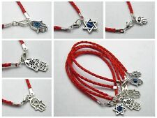 10 Kabbalah Evil Eye Hamsa Hand Charms Red Leatheroid Braided Good Luck Bracelet