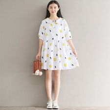 Peter Pan Collar Half Sleeve Solid Pattern Casual Wear Vintage Dress for Women
