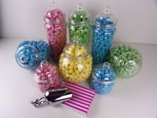 Set of 8 Large Candy Buffet Jars & Victorian Lids With 100 Sweet Bags/ 2 Scoops