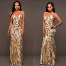 Sequins Womens V Neck Long Prom Formal Evening Gown Ball Party Bridesmaid Dress