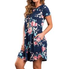 Summer Spring O Neck Short Sleeve Floral Printed Loose Casual Women Dress
