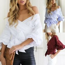 Womens Casual Off Shoulder Puff Sleeve Belted T-Shirt Casual Loose Tops Blouse