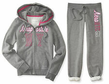 AEROPOSTALE WOMENS HOODIE AND SWEAT PANTS SET NYC AERO ZIP JACKET
