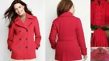 NWT Lands End Womens Italian Luxe Wool Double Breasted Pea Coat $179