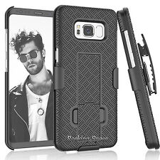 SAMSUNG GALAXY S8 & PLUS STAND PHONE CASE W/CLIP HOLSTER HYBRID ARMOR HARD COVER