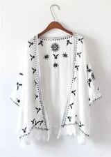 Women Embroidery Decorated Vintage Fashion Open Stitch Loose Casual Cardigan