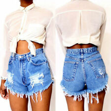 Summer Ripped Womens High Waisted Stonewash Shorts Ladies Denim Jeans Hot Pants