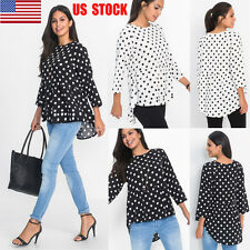 US Women Vintage Polka Dot Tops Loose Long Sleeve Shirt Casual Work Hem Blouse