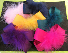 You Pick 3 - Lot Set Boutique Hair Bows Marabou Puff Feather Hairbows U Choose